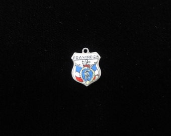 Frankreich Coat of Arms- France Charm- Travel Shield Charm, 800 Silver Pendant Vintage Charm Enamel Charm, Sterling Silver- France in German