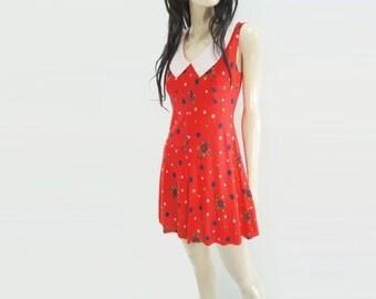 70s Mini Dress, Vintage Red Floral, White Collar Dress, Polka Dot Dress, 70s Skater Dress, 70s Flared Dress, s