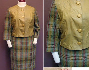 Vintage 1960s Leather and Wool 2 Pc Suit SZ M