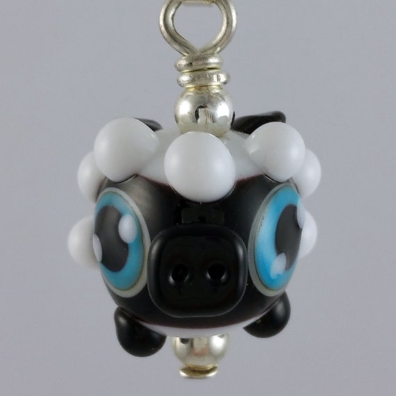 Dolly Lamb Sheep Lampworked Glass Necklace and Cell Charm