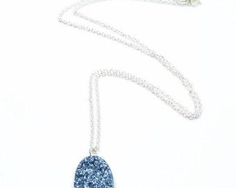 Sugar Collection - Denim Blue Drusy Oval Pendant Necklace - Glitter Glisten Sparkle Solitaire Pendant Delicate Small Necklace
