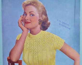 1950s Women's Sweater Sleeveless Top Lacy Ladies' Jumper Strutt's UK No. 4069 - 50s original knitting pattern