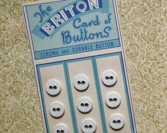 Briton Buttons - Antique Small Laundry Buttons on Original Card White Linen Cotton Vintage - Set of 9 in Total - underwear washing buttons