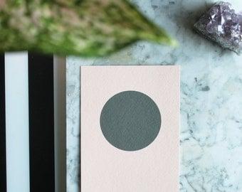 Circle, by Julie Tillman, minimal geometric peach and dark grey large art print. wall art. on trend art. Scandinavian Style. Scandi style