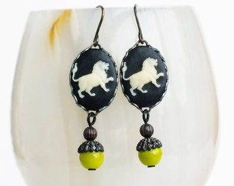 Leo Earrings Lion Cameo Earrings Astrology Earrings Vintage Victorian Zodiac Jewelry Black Chartreuse Leo Astrology Jewelry