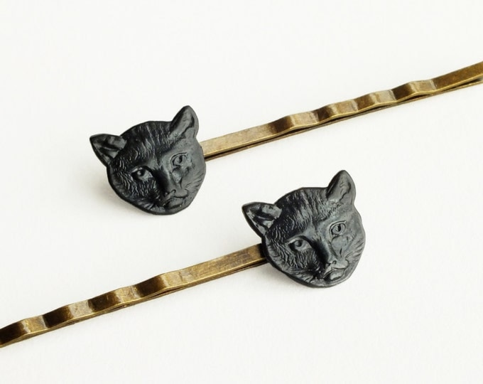 Cute Cat Hair Pins Black Brass Cat Bobby Pins Animal Vintage Style Cat Hair Accessories Animal Gift For Cat Lovers