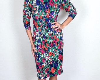 Bright Floral Patterned 90's Stretch Dress