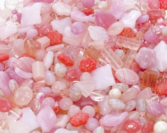 16mm to 4mm Think Pink Mix Different Shapes and Sizes Czech Glass Beads 50 Grams (AS13)