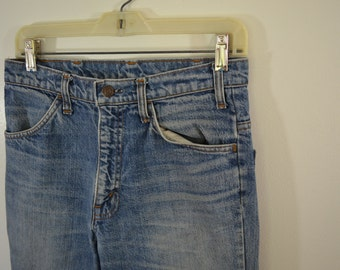 Vintage JC PENNEY denim blue jeans w30 l33 Made In USA 1970's hegay