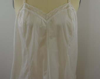 Vintage WHITE TOP size 44 off teddie baby doll slip lingerie made USA