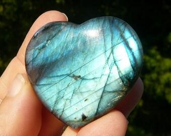 Polished Labradorite Heart #1 ~ Heart Shaped Stone, Healing Stone, Metaphysical, Genuine Labradorite, Hippie, Boho, Natural, Earthy, Unique