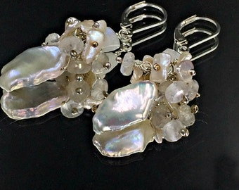 Keishi Pearl Wedding Earrings Moonstone Mystic Quartz Cluster Wire Wrapped Sterling Silver Bridal Earrings Leverback