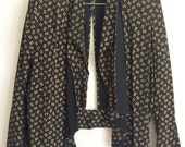 Vintage J.B. Wright Ltd. Jacket, Black Gold Vintage Top-Coverup, Woman's Vintage Blazer