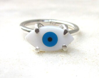Evil eye sterling silver ring, bohemian dainty ring, modern stacking ring, shell cabochon, hippie gypsy jewelry, US size 6