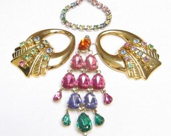 VIntage RHINESTONE Earring LOT Jewelry Parts Connectors Chandelier Pastels Dangle Drop Harvest Single Craft Repurpose Upcycle