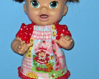 Snackin Sara Baby Alive Doll Clothes Pink Strawberry Shortcake Set  Fits 16 Inch Doll   Doll Clothes