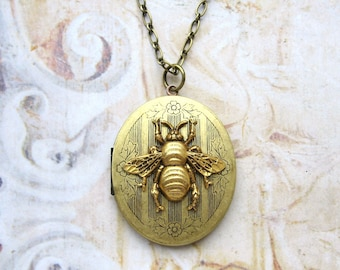 Bumble Bee Secrets - Vintage Style Brass Locket with Golden Bee Long Elegant Handmade Necklace - Gift Box