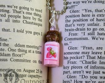 Strawberry Milk Glass Bottle Necklace