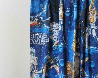 pair vintage 1977 Star Wars curtains pinch pleat drapes jedi princess leia R2D2 han solo space decor