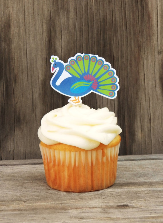 Zoo Animals Party - Set of 12 Peacock Cupcake Toppers by The Birthday House