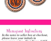 Orange Navy Monogram Earrings, Monogram Stud Earrings Orange Chevron  (532)