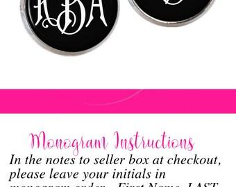 Monogram Earrings Black White (336)