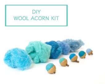 Needle Felting Kit Beginner - Felted Acorn Kit - Wool Acorn Kit - Waldorf Craft Kit - DIY Craft Kit - Children - Kids - Blue