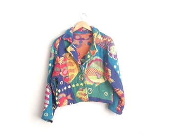 Size M/L // TAPESTRY FISH JACKET // Oversized Blazer - Tropical - Colorful - Vintage '80s/'90s.