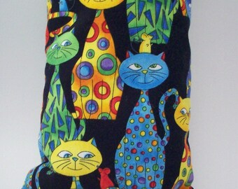 "Catnip Wrestler Kick Stick - Pet Toys - Cat Pillow - Kooky Colorful Cats on Black  - Double Fabric for Durability - 11"" x 4 3/4"""