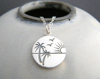 small palm tree sunset necklace. simple beach jewelry. etched sterling silver summer charm. sun set ocean marine pendant. gift for women