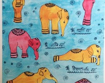 Yoga Art, Elephant Yoga, Hatha (i) Yoga,  Hindu, Sun Salutation, Surya Namaskara,  Elephant Art
