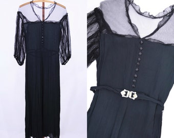 1930s evening dress   dramatic 30s long black evening gown   vintage sheer sleeves dress S/M