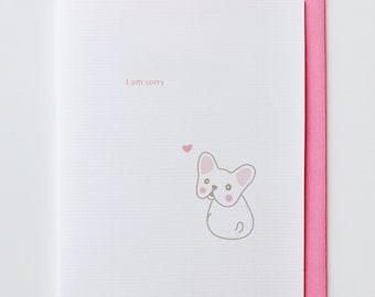 Sorry French Bulldog Apology Card - Animal Card, Funny, Unique, Cute, Kawaii, Sympathy, Heart, Dog
