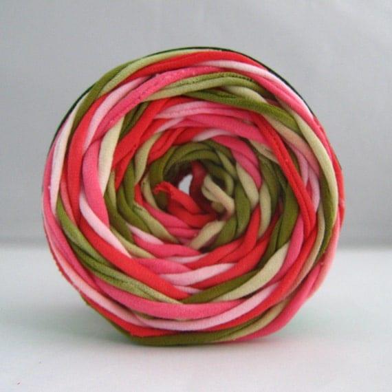 T Shirt Yarn Hand Dyed- Watermelon Green/Pink/Red, 60 yards, Red Yarn, Pink Yarn, Green Yarn, Chunky Yarn, Jersey Yarn, Tshirt yarn