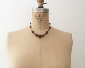 1930s necklace / vintage brass necklace / Apple Jelly necklace