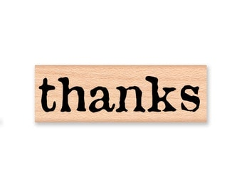 thanks~RUBBER STAMP~large bold font~vintage type font~thank you~gratitude~card making~Wood Mounted Stamp by Mountainside Crafts (43-17)
