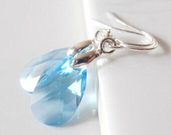 Blue Crystal Drop Earrings, Blue Bridesmaid Earrings, Swarovski Crystallized Elements, Wedding Earrings, Something Blue, Bridal Earrings