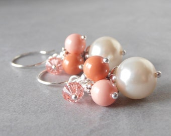 Coral Bridesmaid Earrings, Bead Cluster Dangles, Swarovski Pearl Cluster Earrings, Summer Weddings,  Coral Bridal Jewelry, Bridesmaid Gift