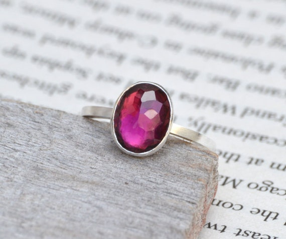 rose cut tourmaline ring, oval tourmaline ring, 1.58ct tourmaline engagement in Red-violet