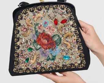 Vintage 50s BEADED Purse EMBELLISHED Needlepoint Bag Retro Collectable CARON of Texas Bag Retro Evening Handbag