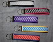 Personalized Wristlet Key Fob- QUADREFOIL- Assorted Colors