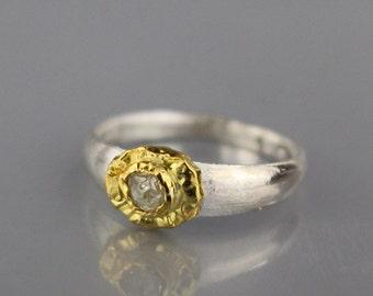 Raw Diamond Engagement Ring, Diamond Jewelry, Diamond Engagement Ring, Silver Gold Ring, Diamond Ring, April Birthstone, Engagement Ring