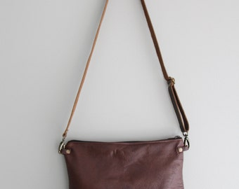 Brown Leather Purse Clutch
