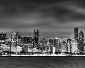 Chicago Skyline at NIGHT Black & White BW 2012 Panoramic Print - Panorama Photo