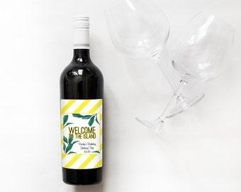 Watercolor Island Palms Mini Champagne Bottle Labels //  Custom Wine Labels // Destination Wedding, Tropical Wedding
