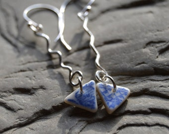 Surftumbled China Shard Earrings, Sterling Silver Dangle Earrings, Blue White Pattern China Earrings