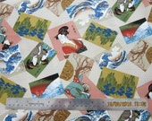 RARE FABRIC ASIAN Women Geisha - Trans-Pacific Textiles - Scattered Asian Scenes on Gray - 1 Yard - #A26