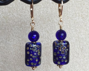 Cobalt Blue Glass Bead Earrings