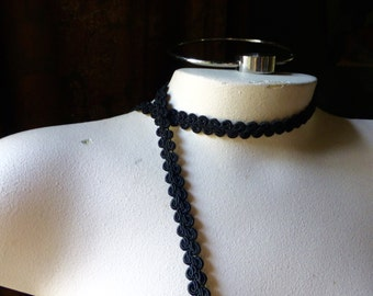 3 yds Black Rayon Passementerie Trim for Reenactment, Neo Victorian, Bridal, Millinery, Jewelry or Costume Design  TR 300