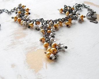 Pearl Cluster Necklace in Gold and Grey with Hand Forged Chain, Copper Wire Jewelry, Cascade Necklace, Bohemian Jewellery, Y Necklace